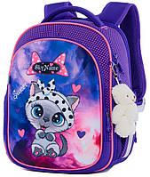 Школьный рюкзак (ранец) с ортопедической спинкой для девочки с Котом 35х27х15 см фиолетовый для начальной