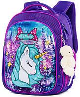 Школьный ранец с ортопедической спинкой для девочки с Единорогом 35х27х15 см фиолетовый для начальной школы
