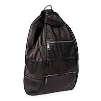 Кожаный женский рюкзак-сумка LT 5617 черный