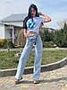 Джинси фабричні жіночі рванка з поясом розміри 25-30, блакитного кольору