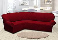 Жаккардовый Универсальный натяжной чехол Без юбки (без оборки, без рюши) на Угловой диван