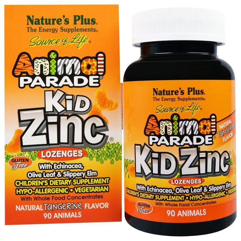 Цинк для Детей, Вкус Мандарина, Kid Zinc, Animal Parade, Natures Plus, 90 таблеток для рассасывания