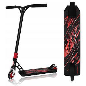 Двоколісний трюкової спортивний залізний самокат для дітей з пегами SportVida Stunt 110 Pro Black/Red