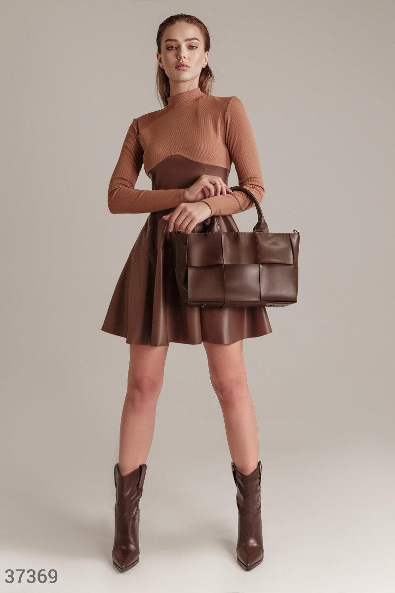 Сукня комбіноване з шкіряною спідницею