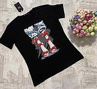 Футболка женская трикотажная для девушек Туфли размер норма 42-46, цвет уточняйте при заказе, фото 1