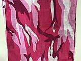 Хлопковая летняя малиновая с розовым бандана - платок рисунок камуфляж, фото 2