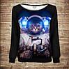Женский свитшот-реглан с открытыми плечами с 3D принтом: Кот в скафандре. Кот Космонавт