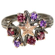 Серебряное кольцо с аметистом и турмалином, 1677КА