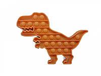 Антистрес сенсорна іграшка Pop It Динозавр Коричневий, фото 1
