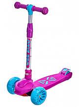 Самокат Детский трехколесный Maraton Macro Oxie, светящиеся колеса, Розовый