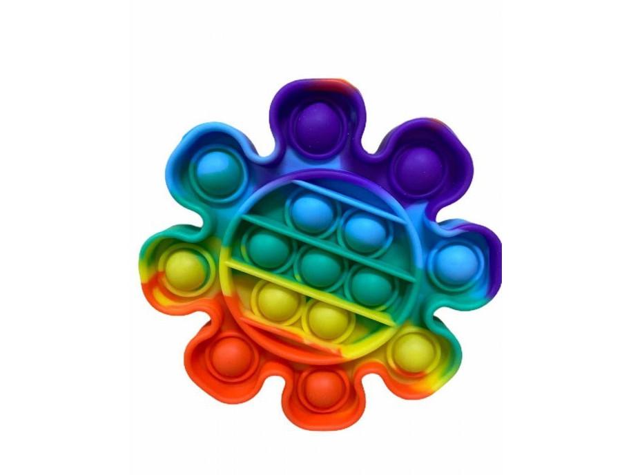 Антистресс сенсорная игрушка Pop It Цветок Радужный