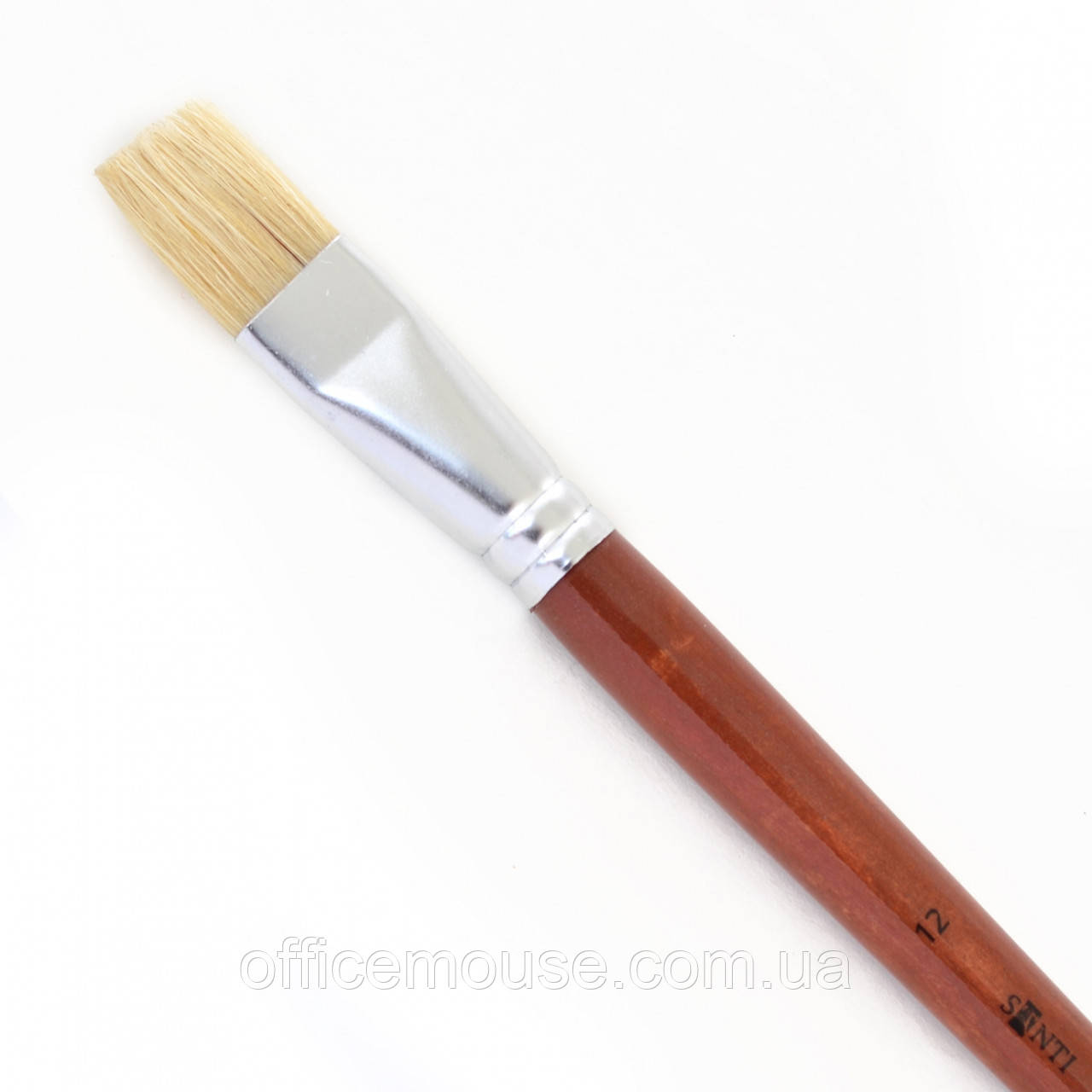 "Пензлик худож. щетина ""Santi Studio"", довга ручка, плоска, №12."