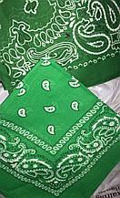 Хлопковая бандана (косынка) с рисунком зеленого цвета