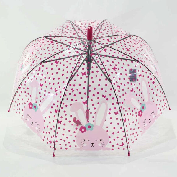 Детский зонт для девочки Зайка прозрачный-розовый красивый трость полуавтомат 8 спиц Mario 486-1