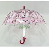 Детский зонт для девочки Зайка прозрачный-розовый красивый трость полуавтомат 8 спиц Mario 486-1, фото 2