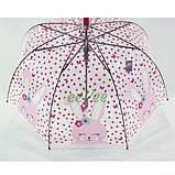 Детский зонт для девочки Зайка прозрачный-розовый красивый трость полуавтомат 8 спиц Mario 486-1, фото 3