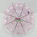 Детский зонт для девочки Зайка прозрачный-розовый красивый трость полуавтомат 8 спиц Mario 486-1, фото 4