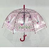 Детский зонт для девочки Зайка прозрачный-розовый красивый трость полуавтомат 8 спиц Mario 486-1, фото 5