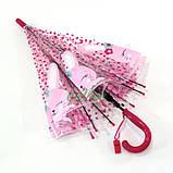 Детский зонт для девочки Зайка прозрачный-розовый красивый трость полуавтомат 8 спиц Mario 486-1, фото 6
