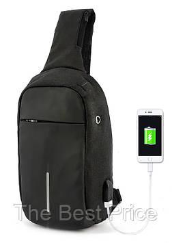 Рюкзак Bobby однолямочный через плечо с USB зарядным и портом для наушников черный
