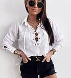 Женская блуза стильная на шнуровке Оверсайз, фото 2