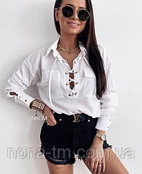 Жіноча блуза жіноча на шнурівці Оверсайз