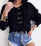 Женская блуза стильная на шнуровке Оверсайз, фото 4