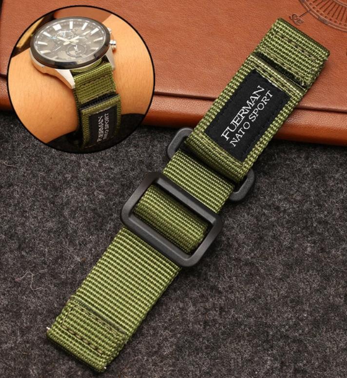 Нейлоновий ремінець для годинника на липучці, хакі. NATO. 22 мм
