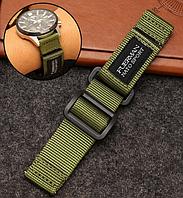 Нейлоновий ремінець для годинника на липучці, хакі. NATO. 22 мм, фото 1