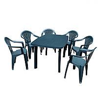Комплект пластиковой садовой мебели стол Faro + 6 кресел Altea Зеленый