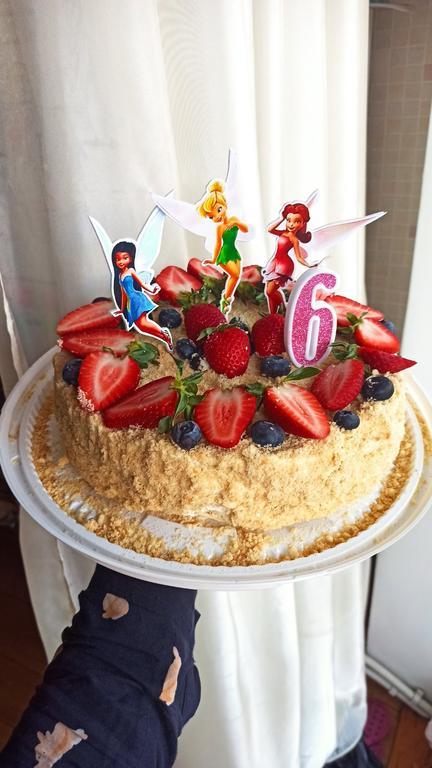 Тортик для девочки на 6 лет с топперами фей♥