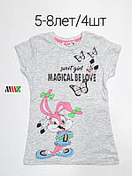 Детская трикотажная футболка для девочки Sweet girl размер 5-8 лет, цвет уточняйте при заказе, фото 1