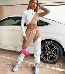 Спортивний жіночий костюм з укороченим топом