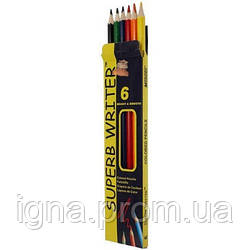 """Олівці 6 кольорів шестигранні, Superb Writer,4100-6CB,TM""""Marco"""""""