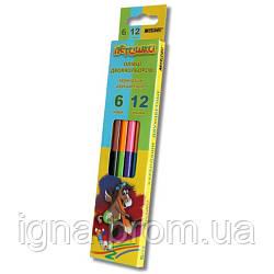 Олівці двосторонні 6 шт. 12 кольорів, Пегашка, Marco