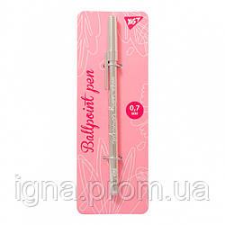 "Ручка кулькова YES ""Happy pen"", сріб., 1шт/уп"