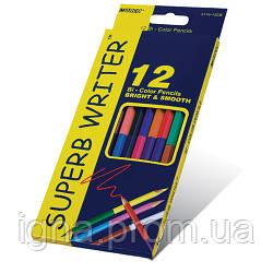 """Олівці двусторонні 12 шт. 24 кольори шестигранні,Super Writer,4110-12CB,ТМ""""Marco"""""""
