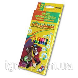 Олівці двосторонні 12 шт. 24 кольори, Пегашка, Marco