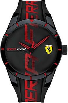 Мужские часы Scuderia Ferrari Redrev Analog Black с круглым циферблатом 830614