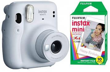 Камера моментальной печати Fujifilm Instax Mini 11 Ice White с фотобумагой Fujifilm INSTAX MINI EU GLOSSY
