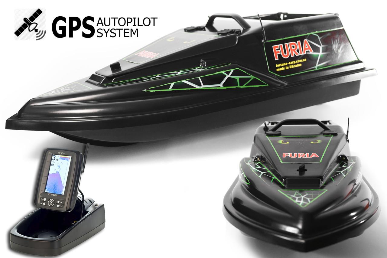 GPS (Maxi) Ехолот Toslon TF500 Прикормочний кораблик Фурія Шторм Чорна