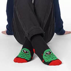 Носки демисезонные высокие для мальчика, Зеленый монстрик, V&T (размер 14-16)