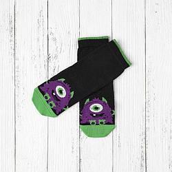 Носки демисезонные высокие для мальчика, Фиолетовый монстрик, V&T (размер 14-16)