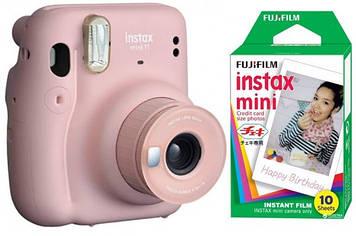 Камера моментальной печати Fujifilm Instax Mini 11 Blush Pink с фотобумагой Fujifilm INSTAX MINI EU GLOSSY