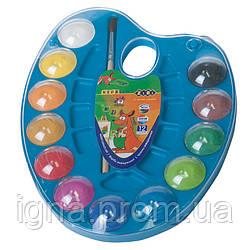 Акварельні фарби на палітрі, 12 кольорів, натуральний пензель, синій