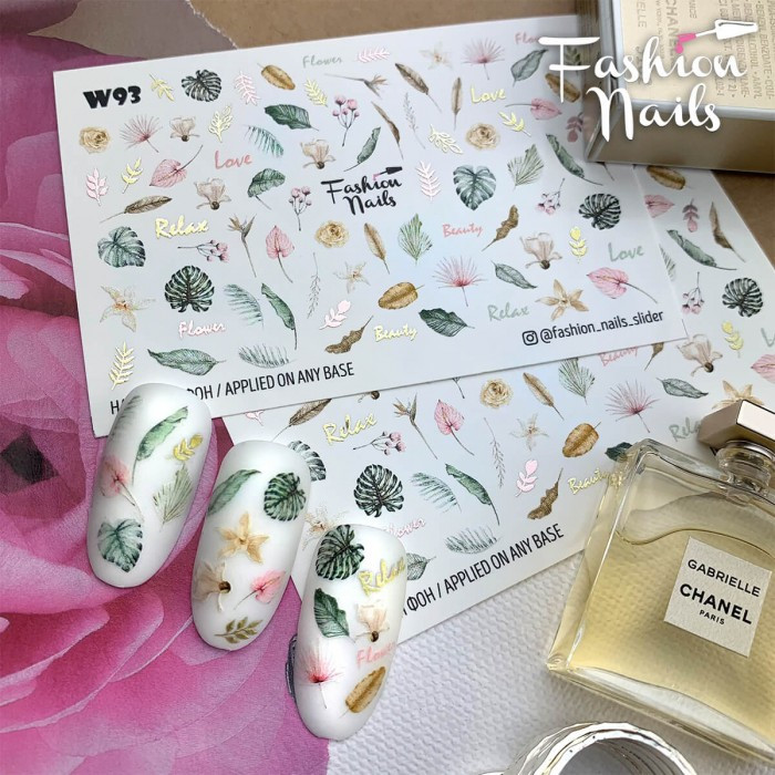 Слайдер-дизайн КВІТИ  для манікюру - Водні Наклейки Квіти на нігті Fashion nails