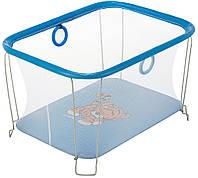Манеж детский игровой KinderBox солнышко Темно-голубой тигренок с мелкой сеткой (SUN 75231)
