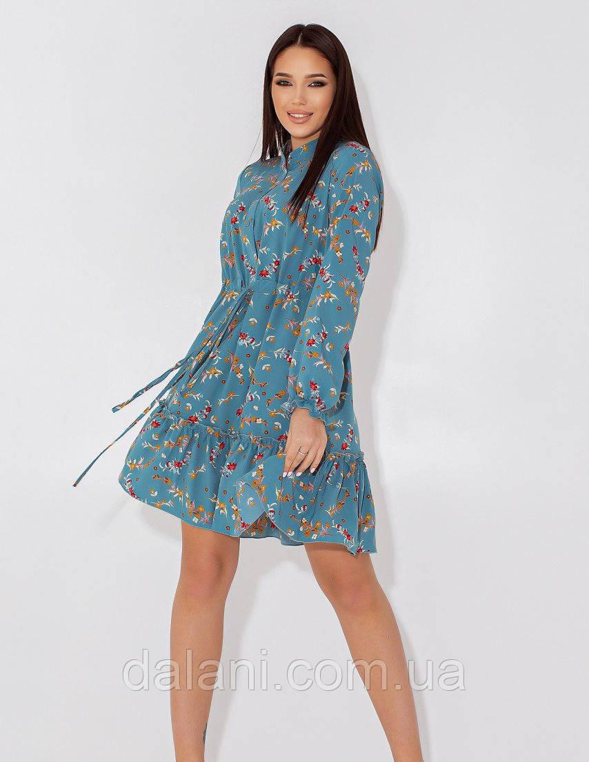 Женское бирюзовое короткое платье-рубашка с цветочным принтом