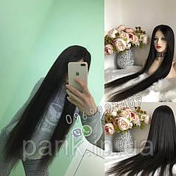 Длинный чёрный парик 95 см. без чёлки, натуральный волос