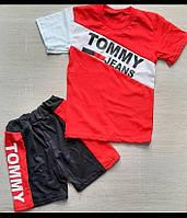 """Детский костюм майка+шорты """"TOMMY"""" для мальчика 4-8 лет,красный с черным"""